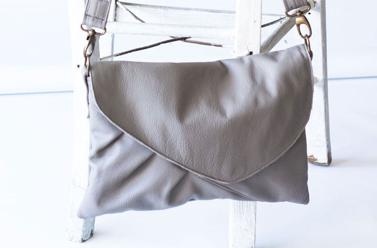 Erato grey oversized leather clutch made by milloo