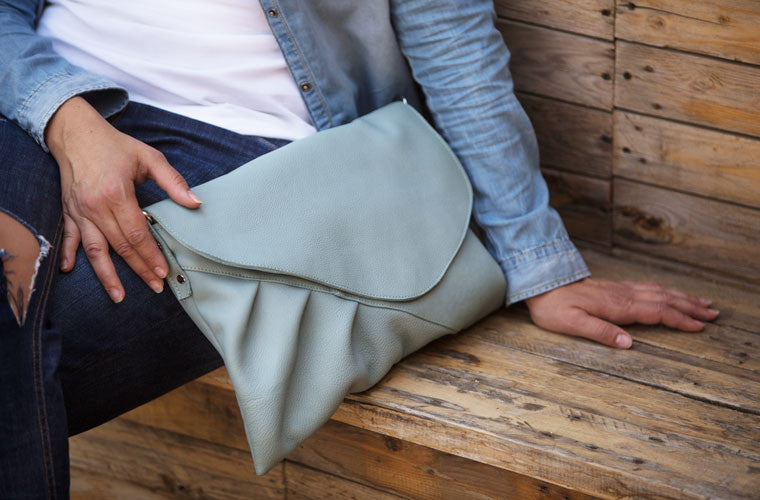 Erato mint oversized leather clutch made by milloo