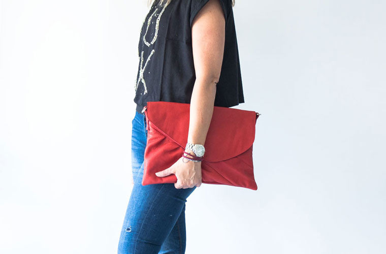 Erato red oversized leather clutch made by milloo