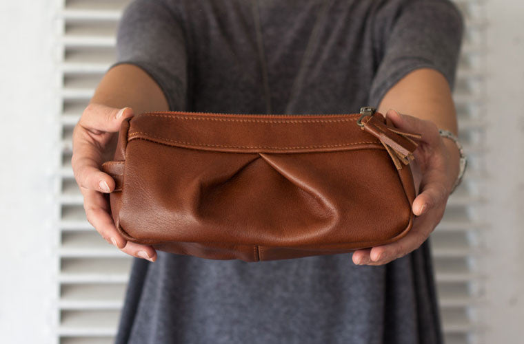 The Estia accessory bag in soft brown leather by milloo