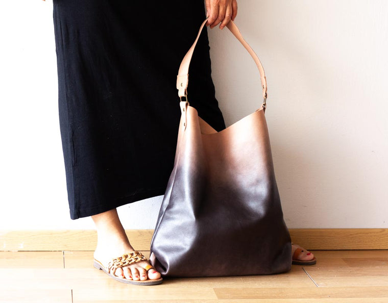 The Amara tote bag in beige gradient dyed leather by milloo bags