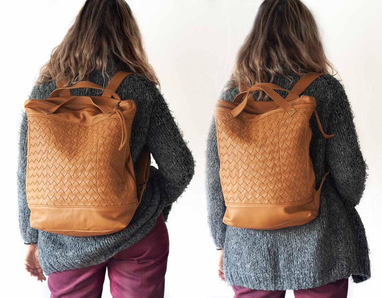 The Minos backpack in brown hand weaved leather by milloo