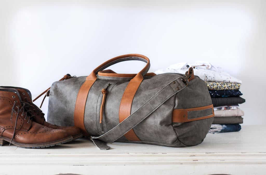 The Nestor duffle bag in grey leather by milloo bags