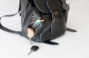 The Artemis backpack in black leather by milloo