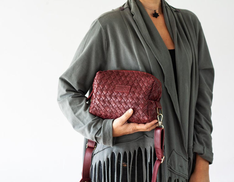 The Calliope purse in burgundy handwoven leather by milloo