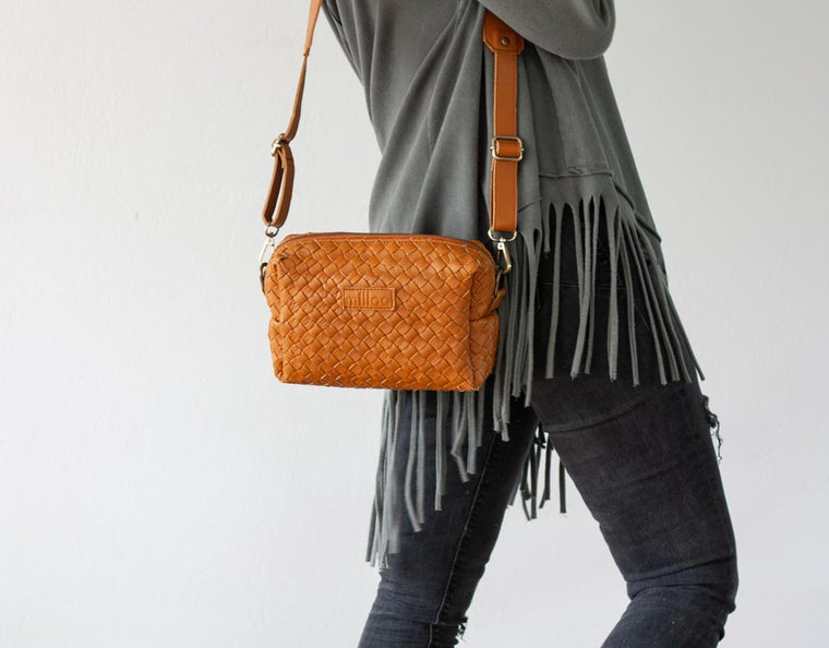 The Calliope purse in brown handwoven leather by milloo