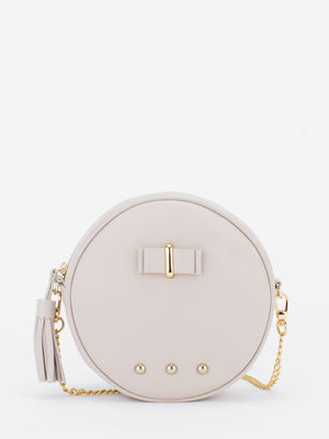 Chloe Leather Circle Bag - Bone