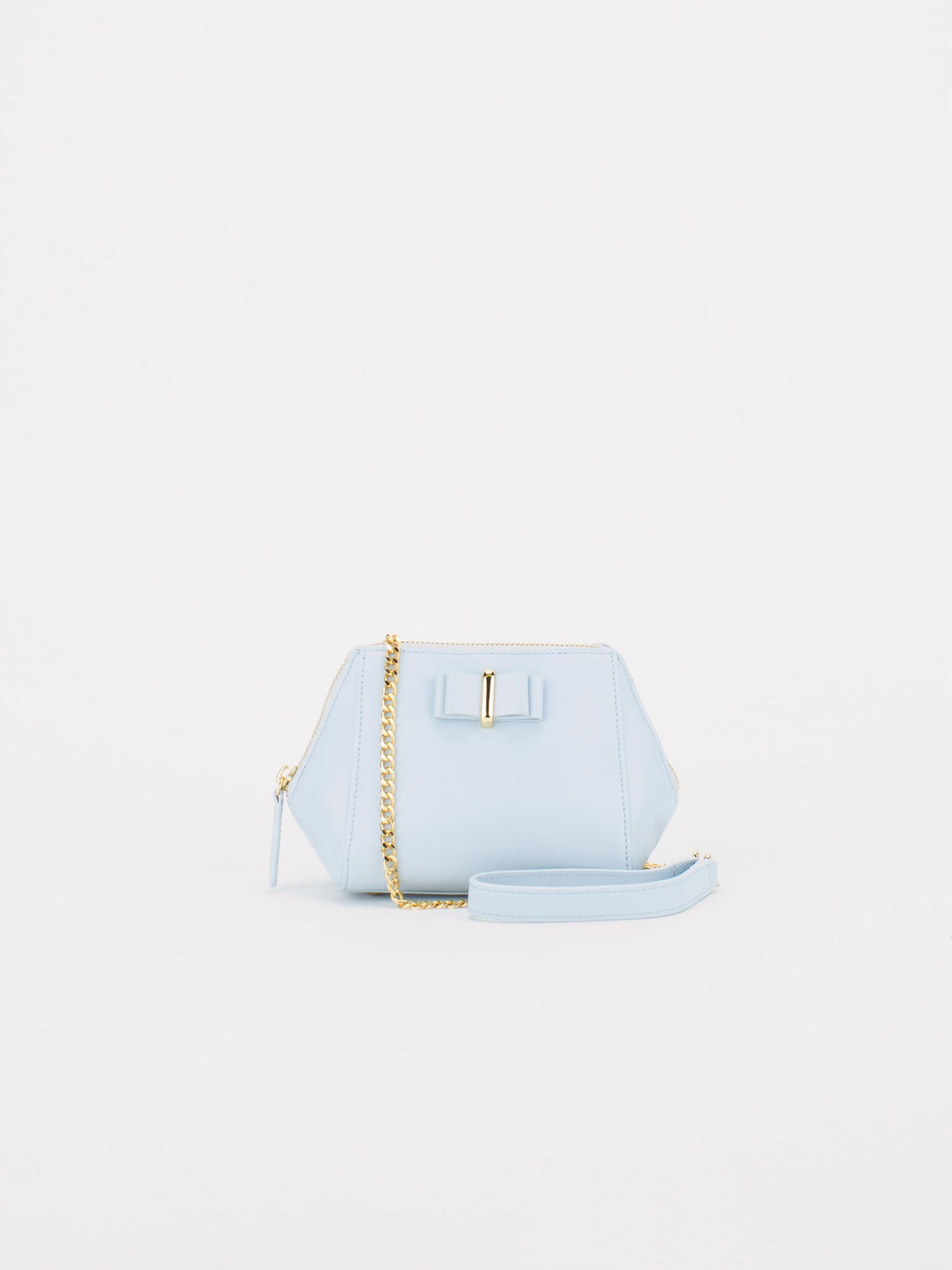 LUCIA Leather Mini Chain Bag - Baby Blue