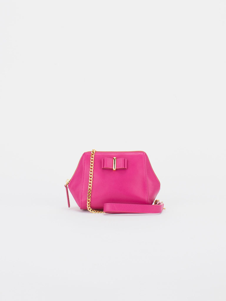 LUCIA Leather Mini Chain Bag - Fuchsia