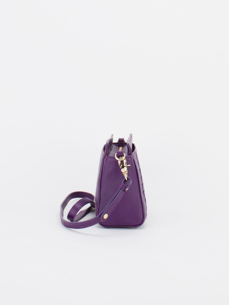 POPPY Leather Shoulder Bag - Aubergine