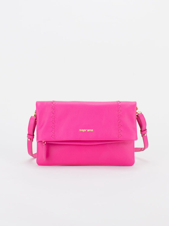 CALI Leather Fold-Over Zip Front Crossbody Bag - Fuchsia