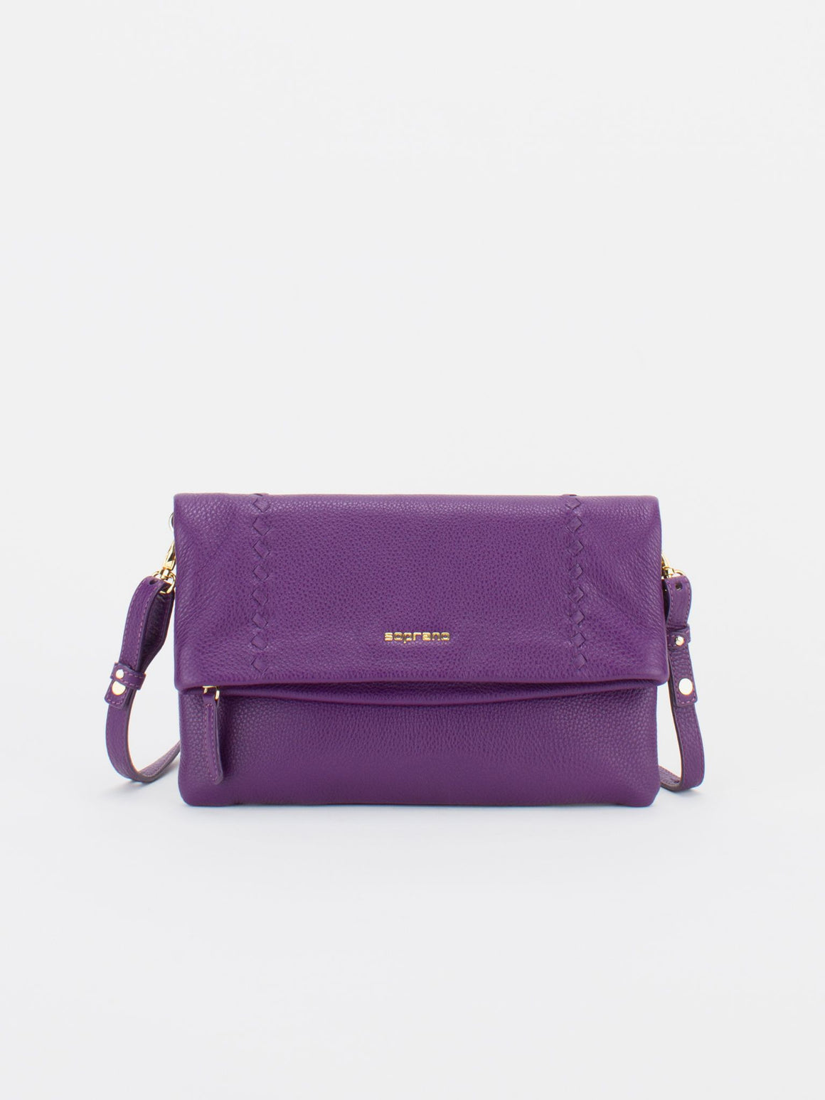 CALI Leather Fold-Over Zip Front Crossbody Bag - Aubergine
