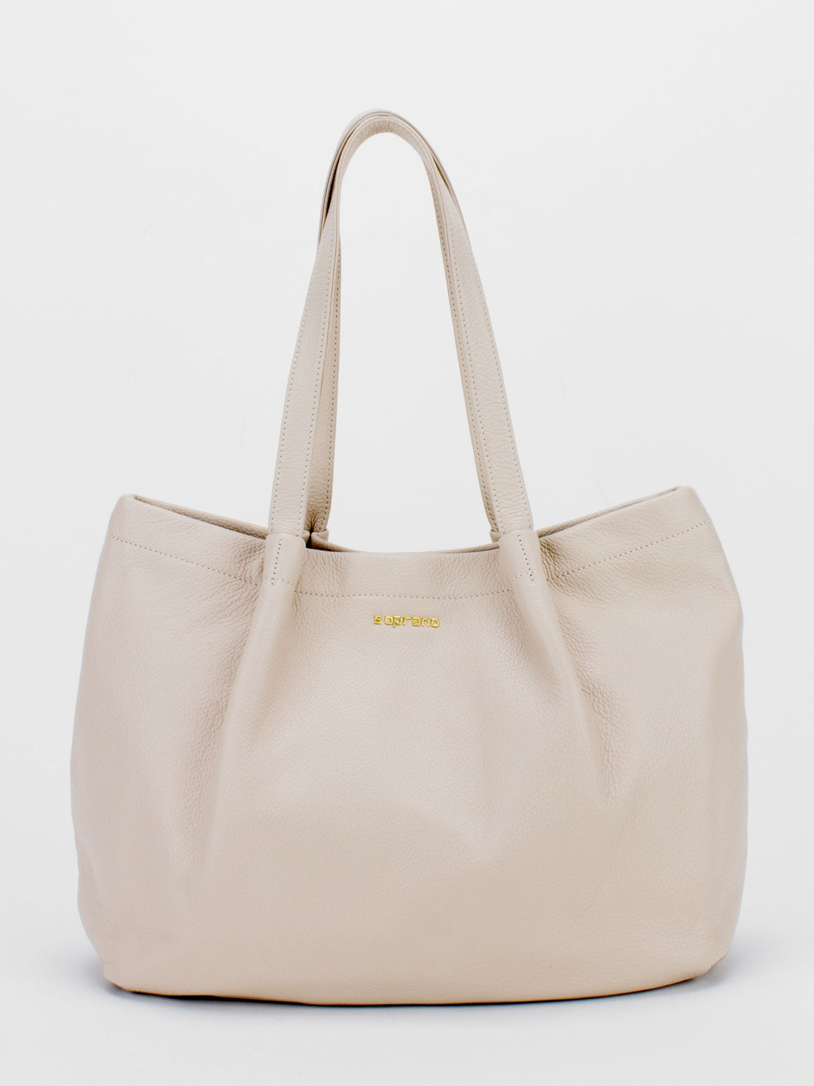 SOPHIE Leather Pleated Tote - Beige