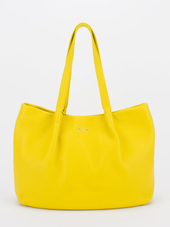 SOPHIE Leather Pleated Tote - Lemon