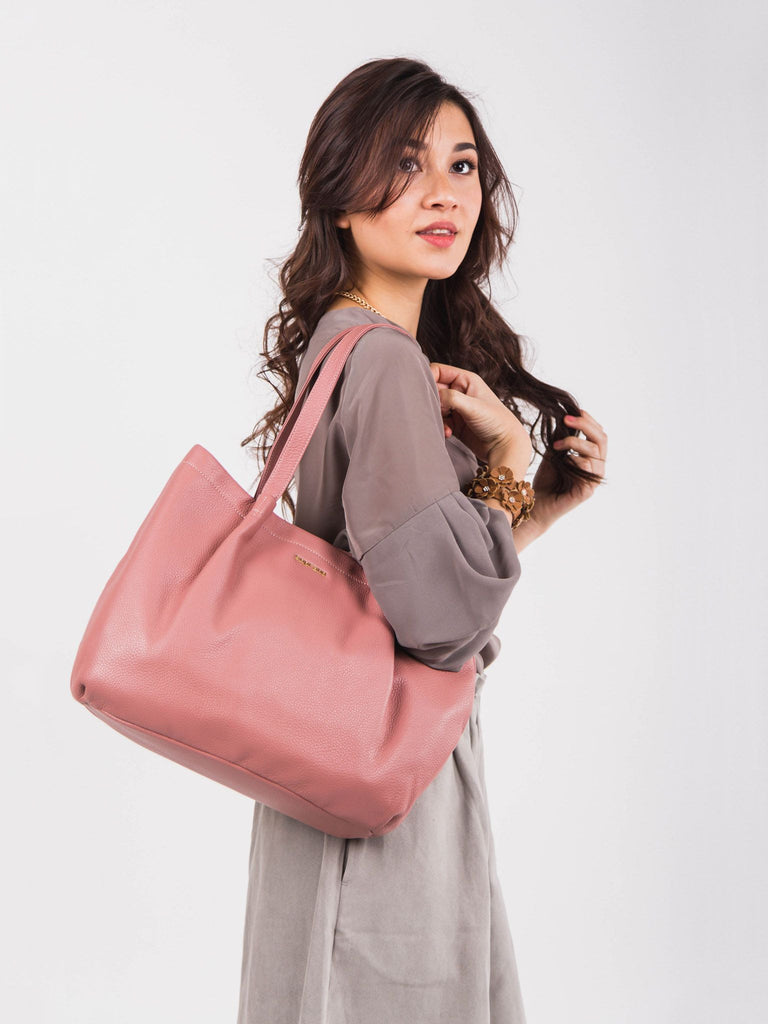 SOPHIE Leather Pleated Tote - Rose