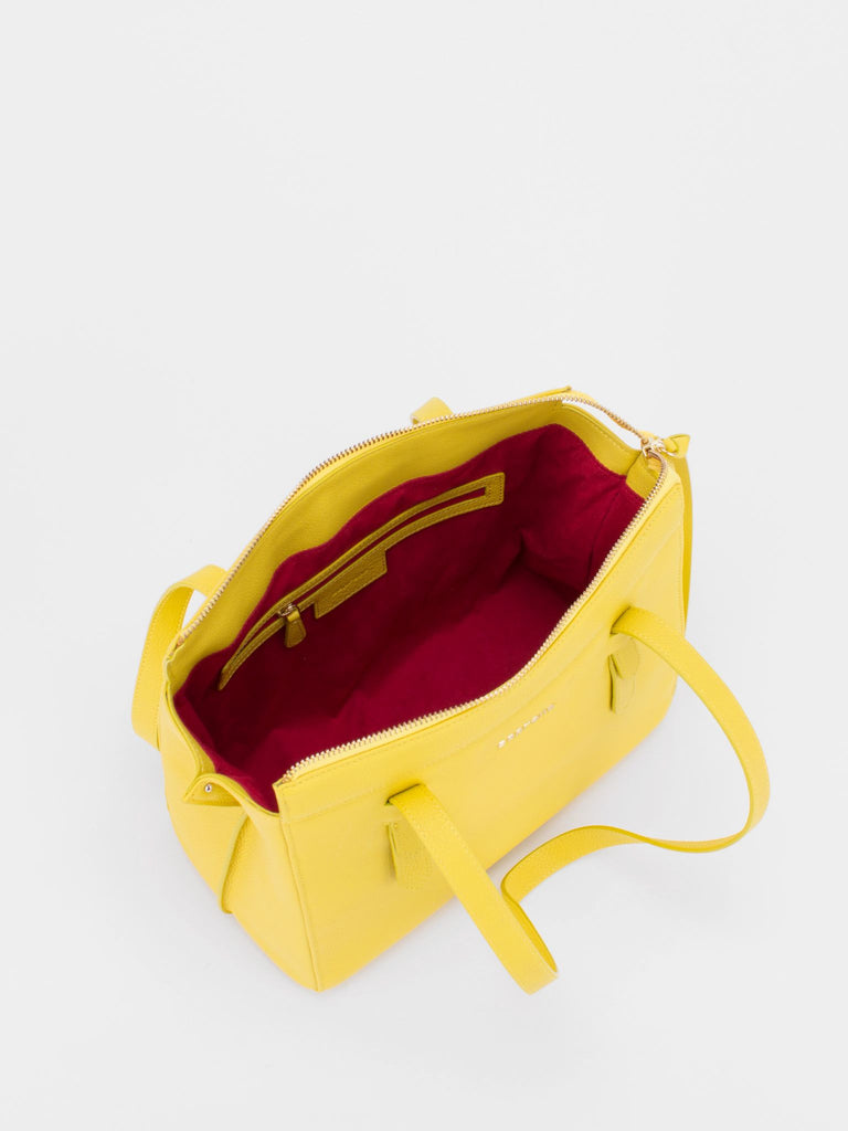 ROSLYN Leather Shopper Tote - Lemon