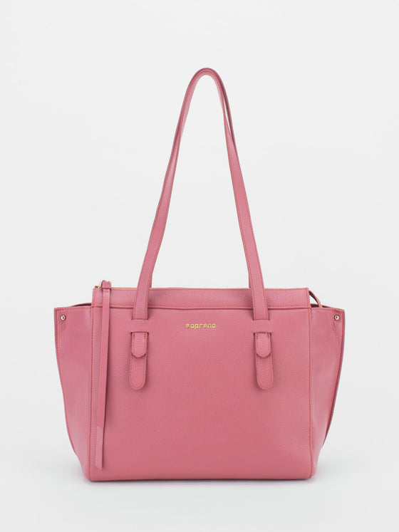 ROSLYN Leather Shopper Tote - Coral Pink