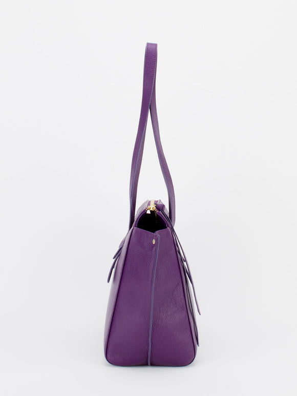 ROSLYN Leather Shopper Tote - Aubergine