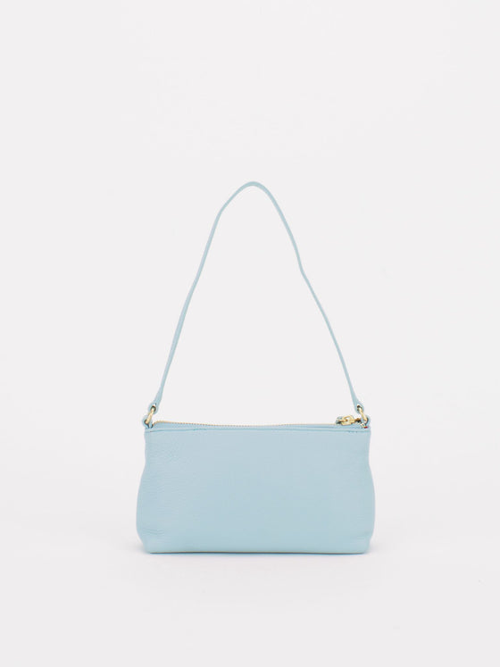 PEARL Leather Shoulder Clutch Bag - Baby Blue