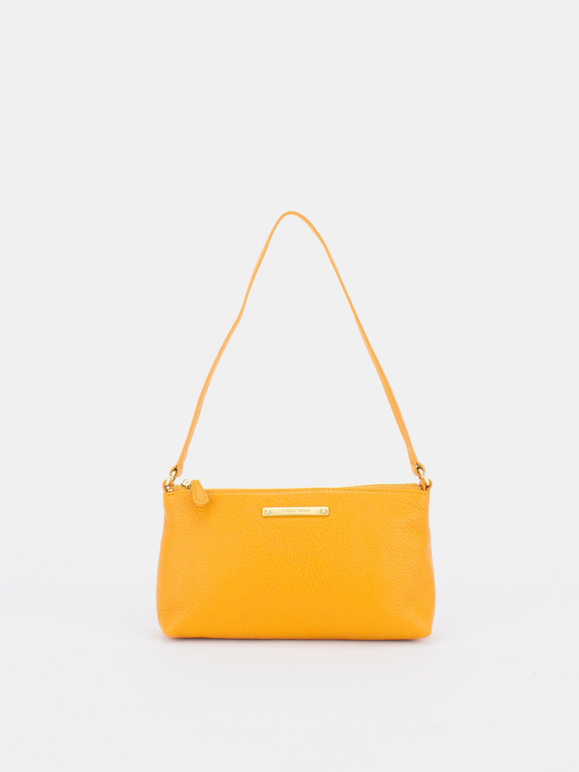 PEARL Leather Shoulder Clutch Bag - Mustard