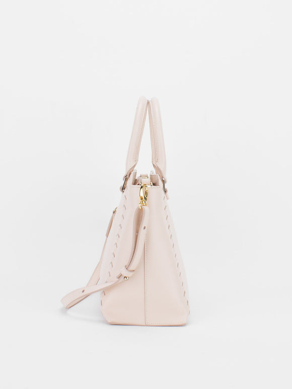 CAMILLA Leather Satchel with Braided Accent  - Light Pink
