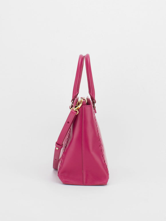 CAMILLA Leather Satchel with Braided Accent  - Fuchsia