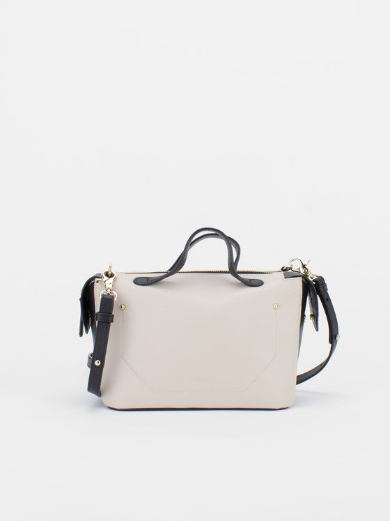 ROBIN Colour Blocking Leather Satchel - Ivory