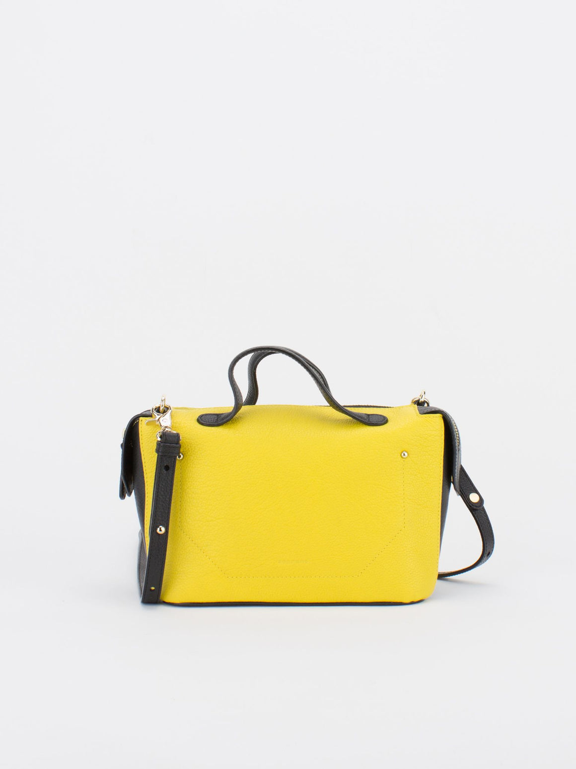 ROBIN Colour Blocking Leather Satchel - Lemon