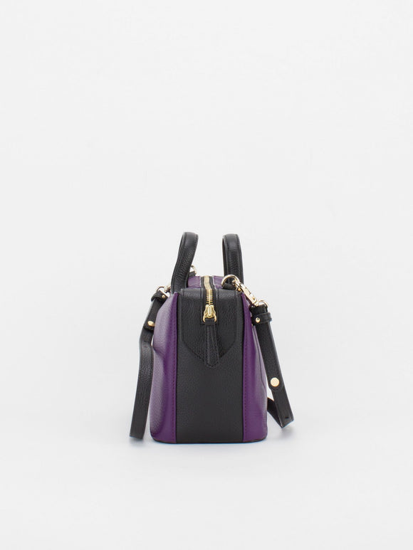 ROBIN Colour Blocking Leather Satchel - Aubergine