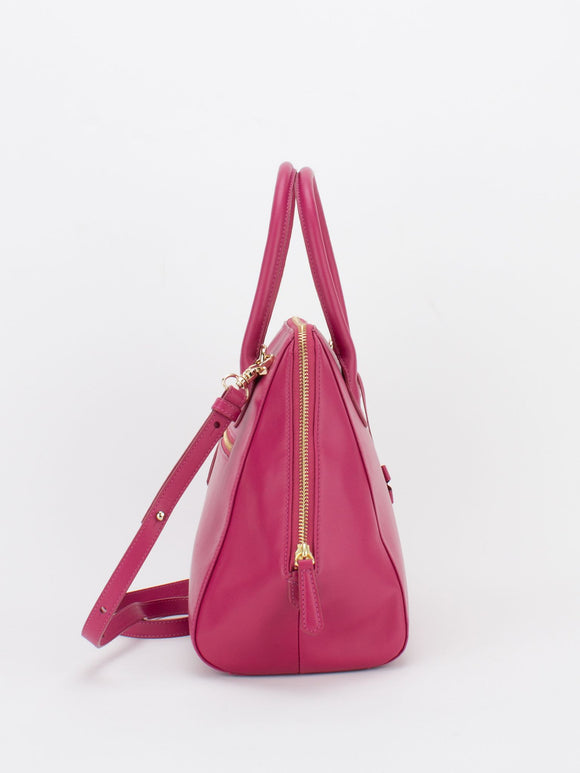 PARIS Leather Satchel - Fuchsia
