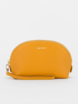 Annie Leather Makeup Pouch - Mustard