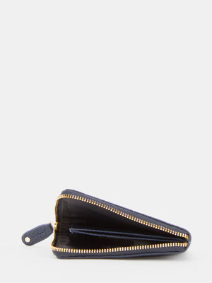 Edith Leather L-zip Purse - Navy