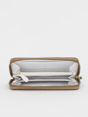 Gina Leather Striped Long Wallet - Brown