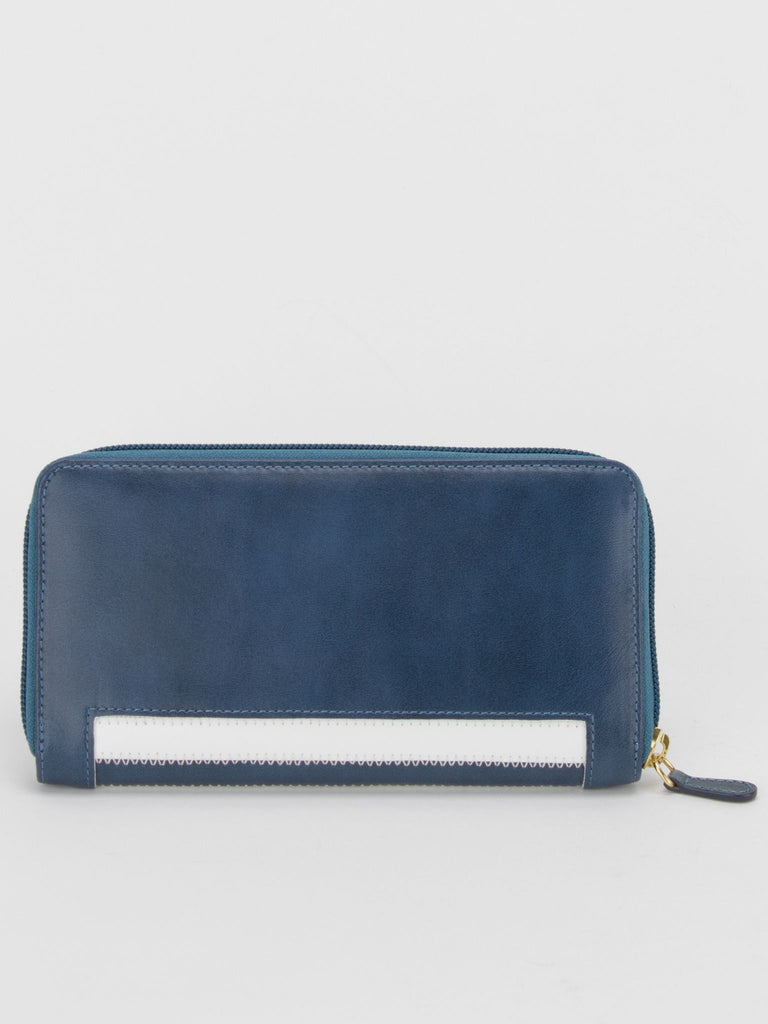 GINA Leather Stripe Wallet - Blue