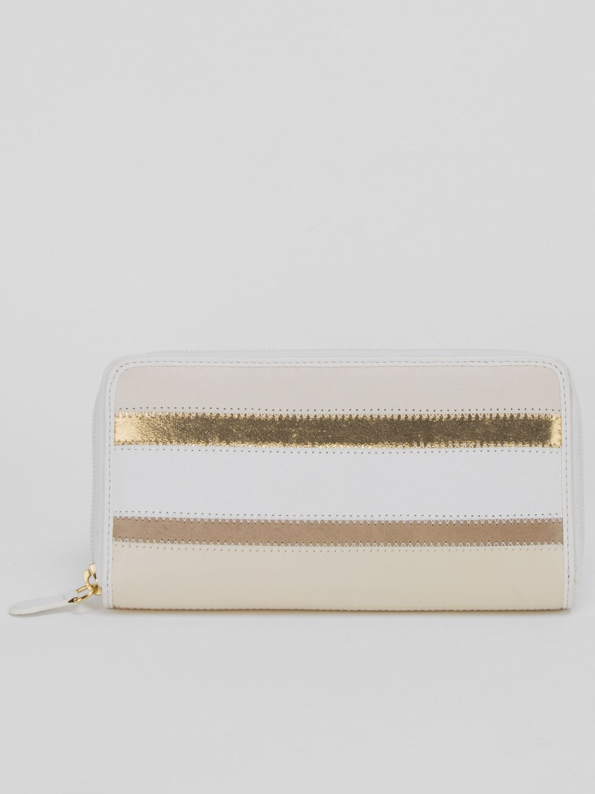 Gina Leather Metallic Striped Long Wallet - Metallic Gold