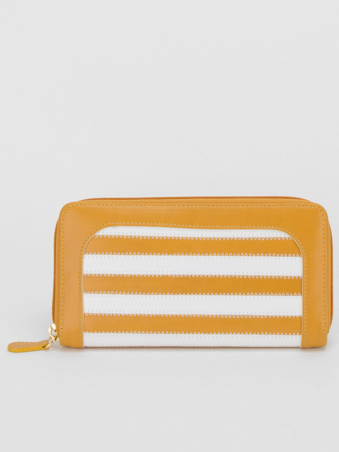 Gina Leather Striped Long Wallet - Honey