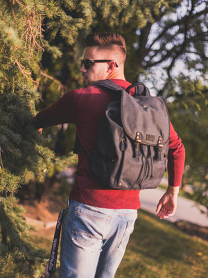 Vintage Canvas Backpack - Black