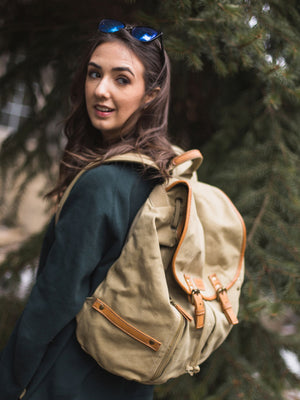 Vintage Canvas Backpack - Khaki