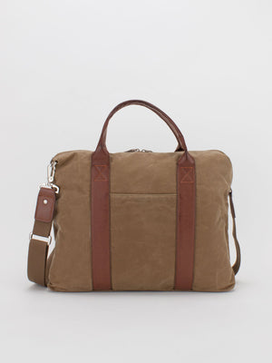 Oil-Finish Canvas Briefcase - Tan