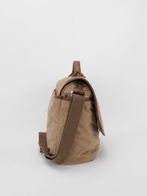 Oil-Finish Canvas Messenger Bag - Tan