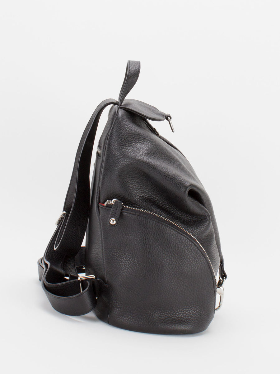 Nayomi Leather Backpack - Black