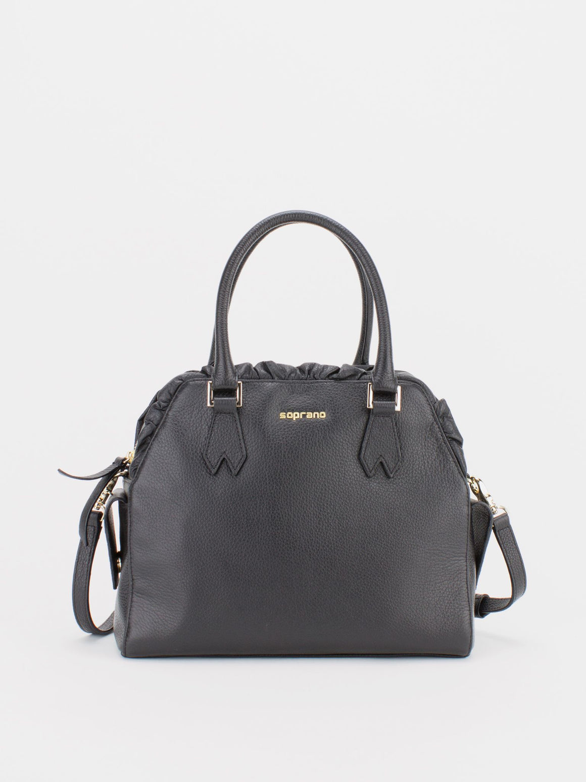 TIARA Leather Satchel with Ruched Detail - Black