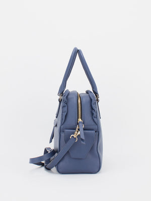 Tiara Ruffle Leather Satchel - Slate Blue