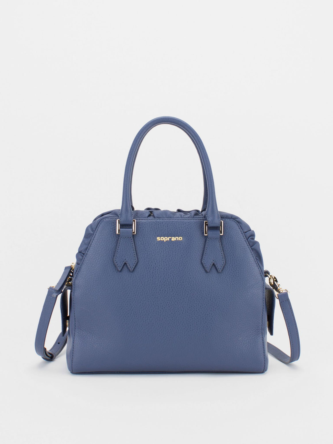 TIARA Leather Satchel with Ruched Detail - Navy