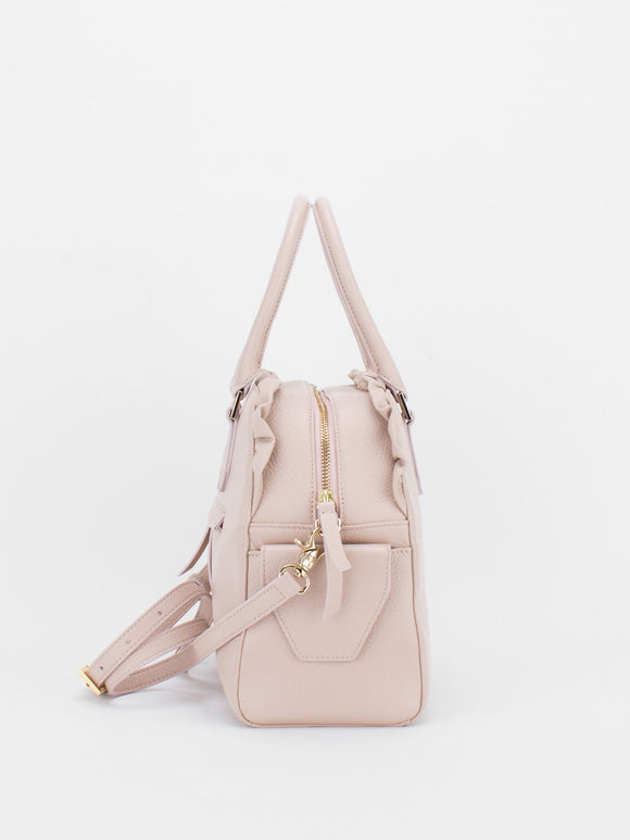 TIARA Leather Satchel with Ruched Detail - Pink