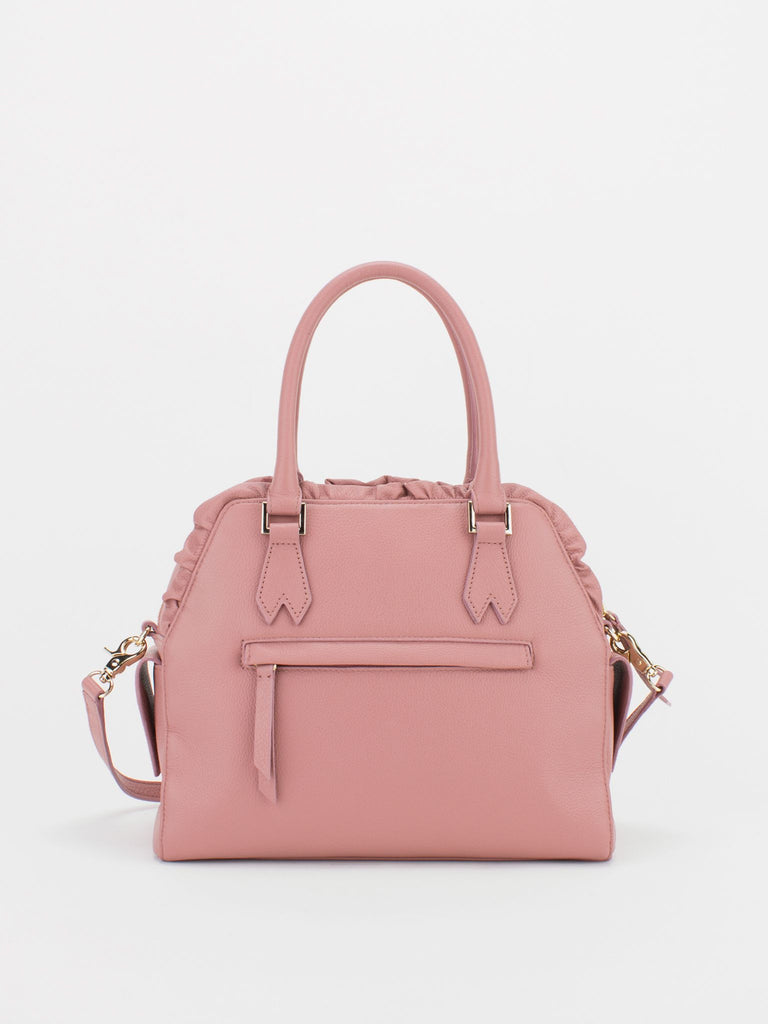 TIARA Ruffle Leather Satchel - Rose Pink