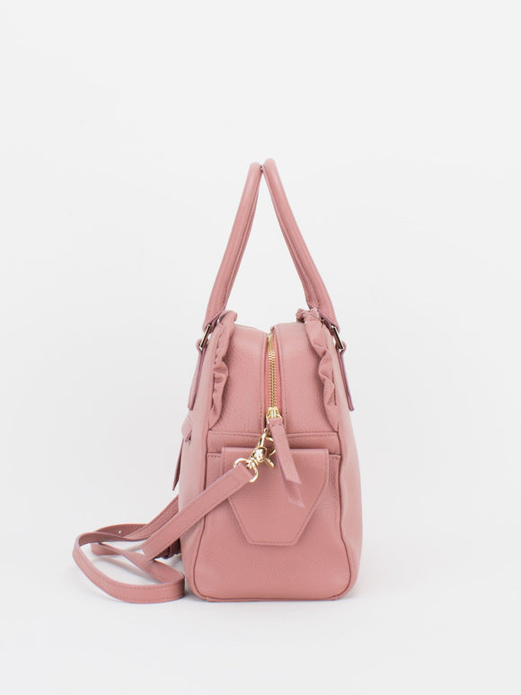 TIARA Leather Satchel with Ruched Detail - Rose