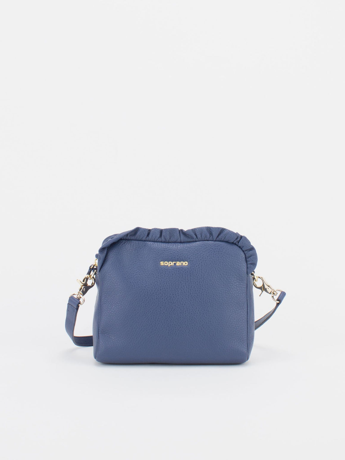 SCARLET Leather Shoulder Bag with Ruched Detail - Navy