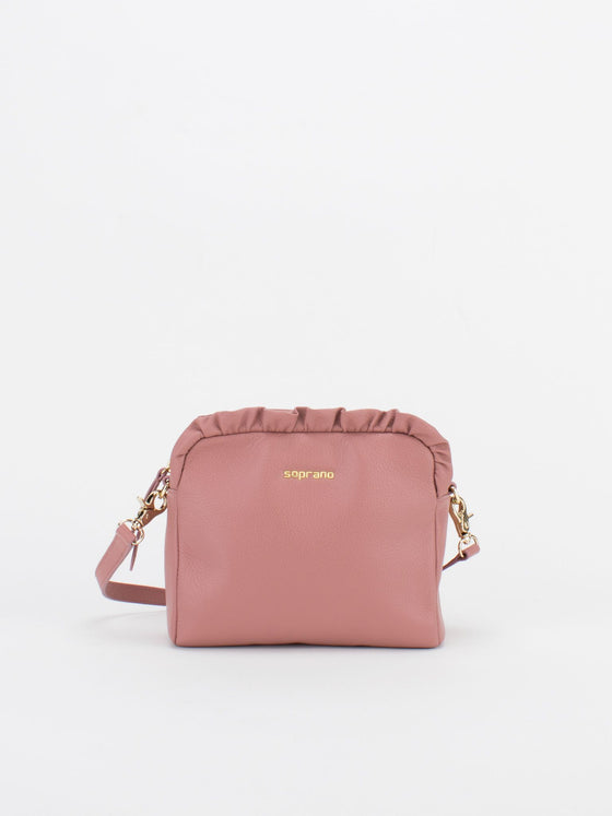 SCARLET Leather Shoulder Bag with Ruched Detail - Rose
