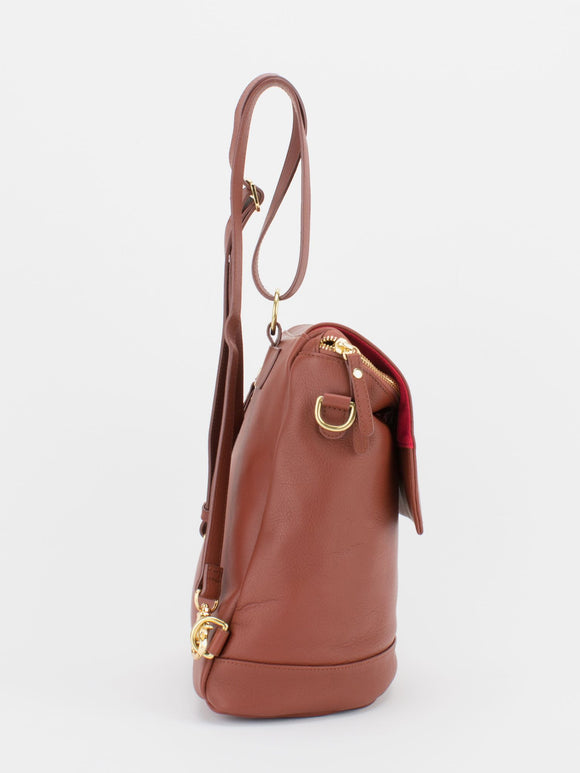JACKIE Leather Convertible Backpack Shoulder Bag - Saddle